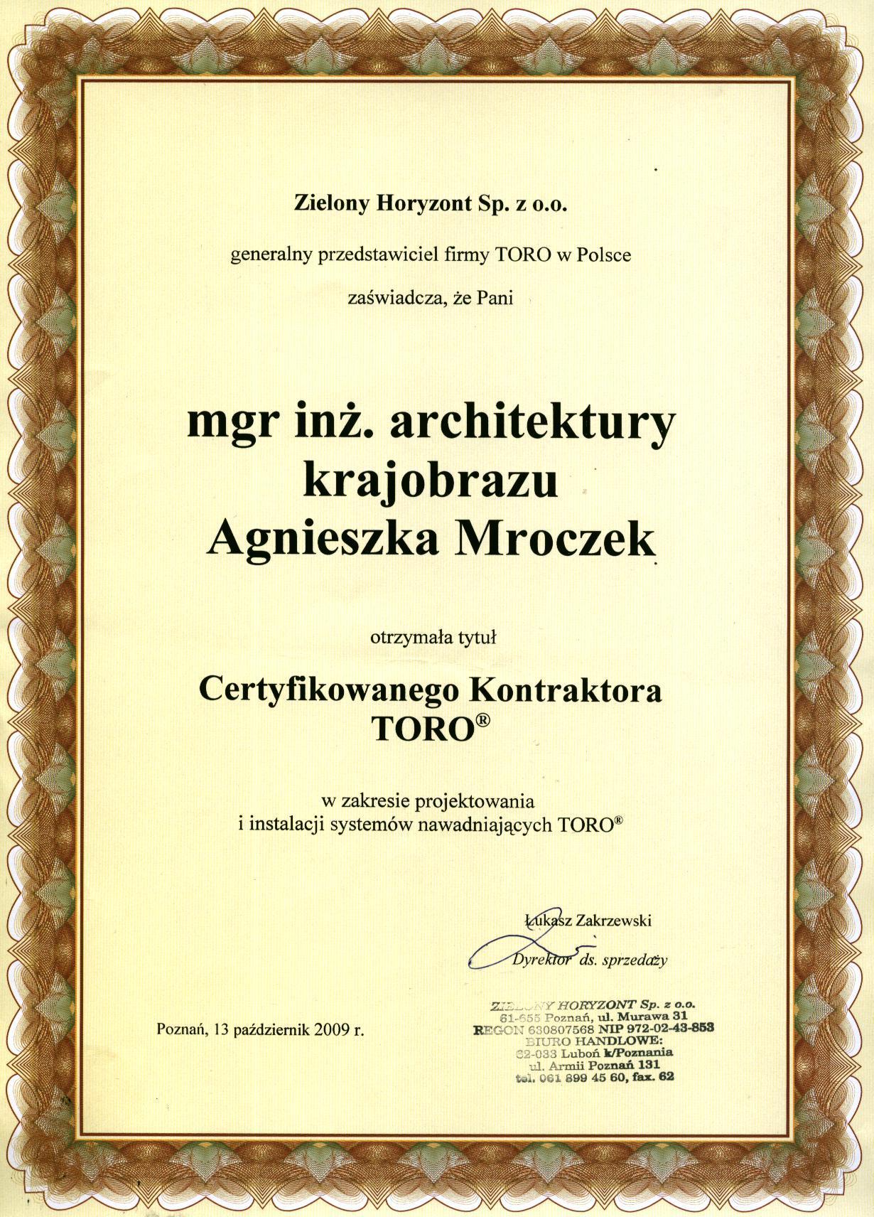 Certyfikat nawadniania Agnieszka Mroczek